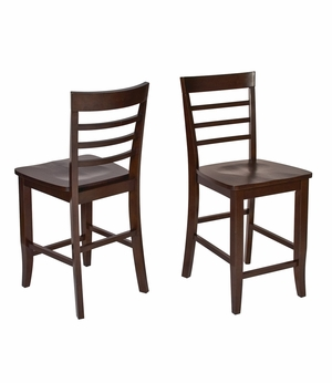 Adorable Pair of Two Wooden Jamestown Bar Stools by Office Star