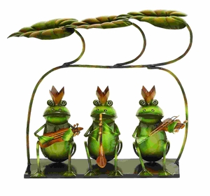 Adorable Party Musicians Garden Frogs in Tin Alloy Brand Woodland