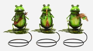 Adorable Perching Musicians Garden Frogs in Tin Alloy Brand Woodland