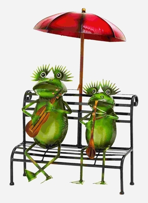 Adorable Practicing Musician Garden Frogs in Tin Alloy Brand Woodland