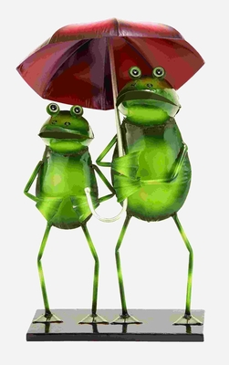 Adorable Rainy Day Garden Frogs in Tin Alloy Brand Woodland