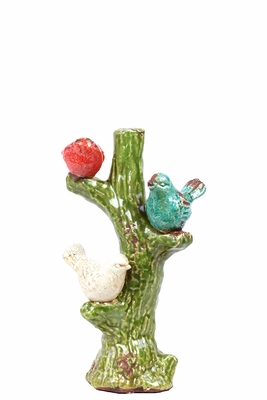 Adorable Red, Blue & White Ceramic Birds Sitting on Tree