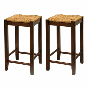 "Adorable Set of Two 24"" Rush Seat Stool by Winsome Woods"