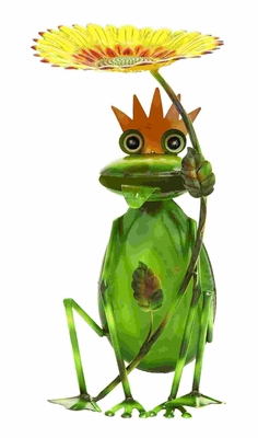 Adorable Sunflower King Garden Frog in Tin Alloy Brand Woodland