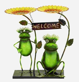 Adorable Sunflower Welcome Garden Frogs in Tin Alloy Brand Woodland