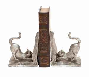 Adorable Superb Hoary Silvery Polished Cat Bookend Brand Benzara