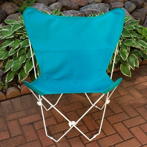 Adorable Teal Fabric Foldable Butterfly Chair by Algoma