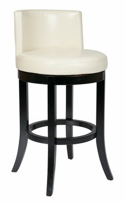 Adorable Wooden Framed Swivel Eco Leather Barstool by Office Star