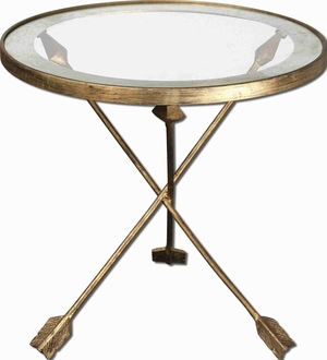 Aero Glass Accent Table With Forged Iron and Gold Leaf Finish Brand Uttermost