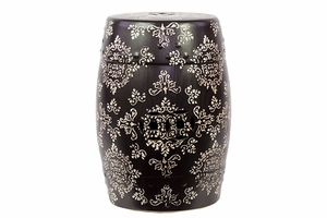 Afghanis Fancy Ceramic Garden Stool Black And White by Urban Trends Collection