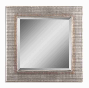 Afton Silver Wall Mirror with Silver Champagne and Gray Glaze Brand Uttermost