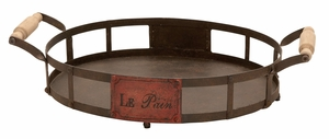 Aged Iron Tray - Antique French Style Tray Made With Iron Brand Woodland