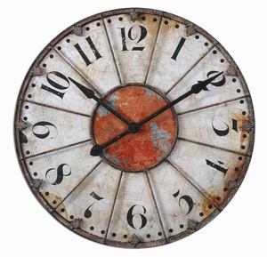 Aged Wall Clock With Crackled Ivory Face And Rust Accents Brand Uttermost