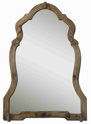 Agustin Arch Wall Mirror with Burnished Walnut Stained Wood Brand Uttermost