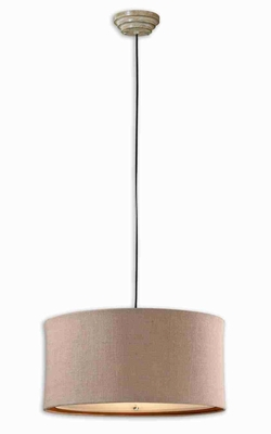 Alamo 3 Light Drum Pendant Lamp With Natural Burlap Brand Uttermost