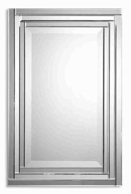 Alanna Frameless Wall Mirror with Stepped Bevel Mirror Edges Brand Uttermost