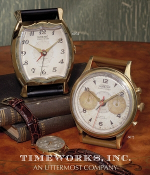 Alarm Clock - Wristwatch Style Wall Clock With Leather Stand Brand Uttermost