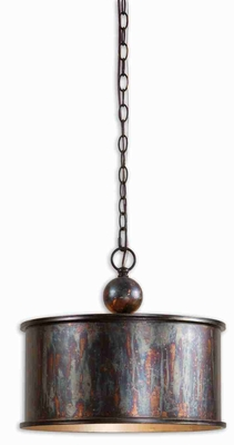 Albiano 1 Light Pendant Lamp With Complex Bronze Oxidation Brand Uttermost