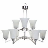 Aldridge Collection Beautiful Contemporary Styled 9 Lights Chandelier Satin Nickel Finish by Yosemite Home Decor