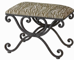 Aleara Iron Small Bench With Olive Cotton Linen Blend Brand Uttermost