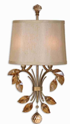 Alenya 2 Light Wall Sconce With Gold Teak Crystal Leaves Brand Uttermost