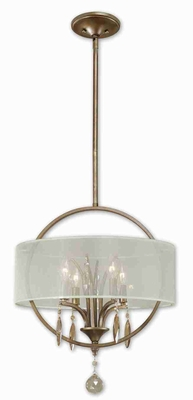 Alenya 4 Light Drum Pendant Lamp With Golden Teak Crystal Leaves Brand Uttermost