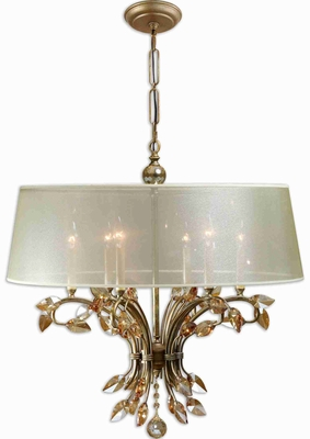 Alenya 6 Light Chandelier With Gold Crystal Leaves Brand Uttermost