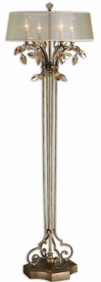 Alenya Floor Lamp with Crystal Leaf Work in Gold Brand Uttermost