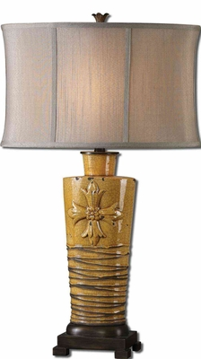 Alfiano Crackled Yellow Table Lamp with Detailing Brand Uttermost