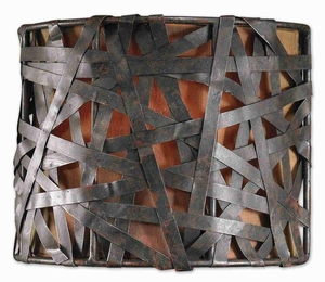 Alita 1 Light Black Wall Sconce With Aged Metal and Rust Accents Brand Uttermost