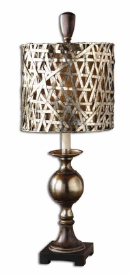 Alita Champagne Buffet Lamp with Wood Tone Detailing Brand Uttermost