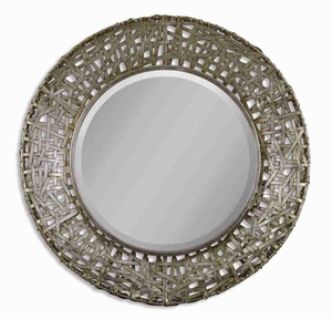 Alita Champagne Wall Mirror with Hand Forged Black Stain Metal Strips Brand Uttermost