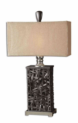Alita Woven Black Table Lamp with Cast Aluminum Accents Brand Uttermost