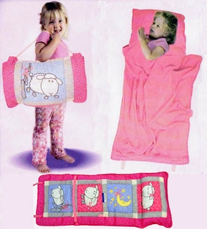 All In One Sophias Ribbon Kids Nap Roll in Pink and Light Blue by American Hometex