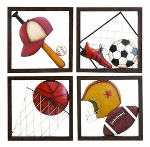 METAL BASEBALL DECOR SET OF 4 ASSORTED PASSION FOR BASEBALL - 68003 by Benzara