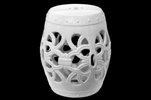 Alluring Ceramic Garden Stool Open- Work White