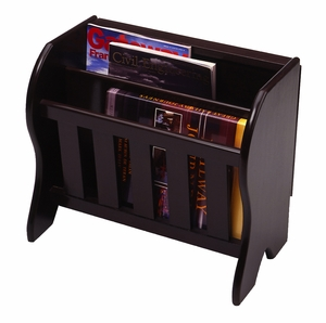 Alluring Dark Espresso Magazine Storage Rack with Side Flip Top by Winsome Woods