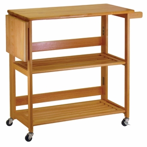 Alluring Foldable Light Oak Foldable Open Kitchen Cart by Winsome Woods