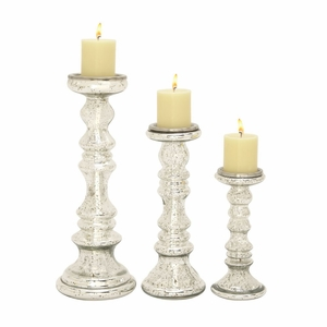 Alluring Set of Three Glass Candle Holder - 24638 by Benzara