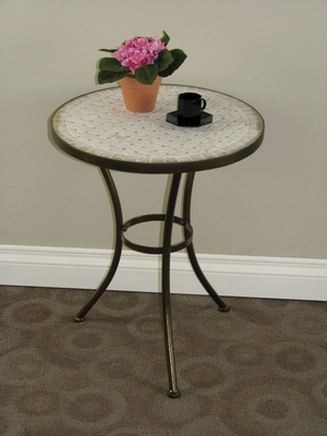 Alluring Travertine Round Top Metal Stand Coffee Table by 4D Concepts