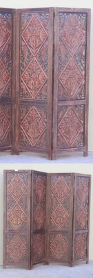 CARVED SCREEN FISH , WOOD - Room Divider