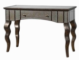 Almont Mirrored Console Table with Rust Bronze and Champagne Finish Brand Uttermost