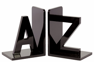 Alphabet Themed Black Wooden Fashionable Bookend by Urban Trends Collection