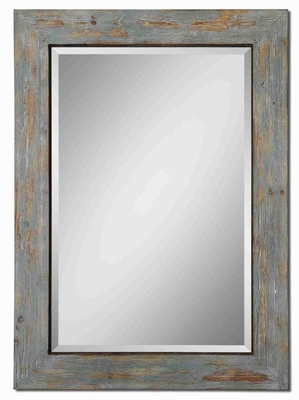 Altino Wall Mirror with Blue Finish and Exposed Wood Frame Brand Uttermost