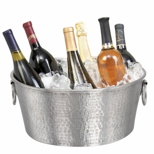 Alum Oval Shaped Wine Tub in Silver Finish with Modern Design Brand Woodland