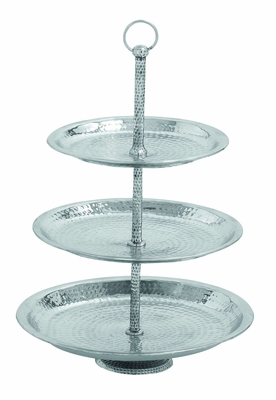 Aluminium 3 Tier Tray in Silver Finish with Minimal Detailing Brand Woodland