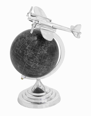 Aluminium Globe with Matte Black Background and White Mapping Brand Woodland