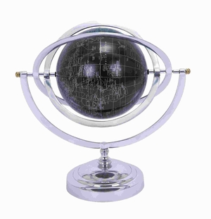 Metal Globe With White Mapping On Matte Black Background - 28352 by Benzara