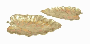 Aluminium Leaf Tray with Intricate Carved Designs (Set of 2) Brand Woodland