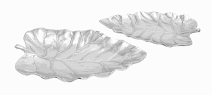 Aluminium Leaf Tray with Polished Metallic Finish (Set of 2) Brand Woodland